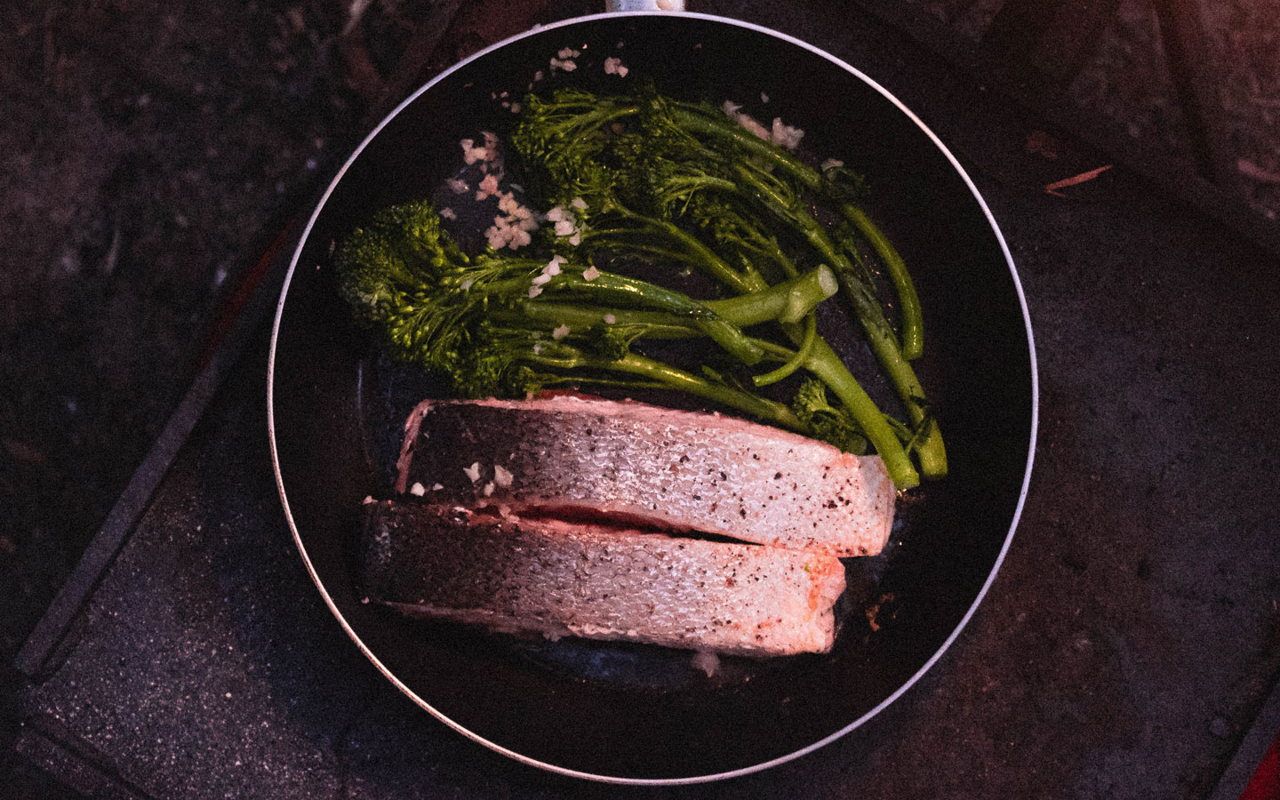 Camping food pan roasted salmon with asparagus